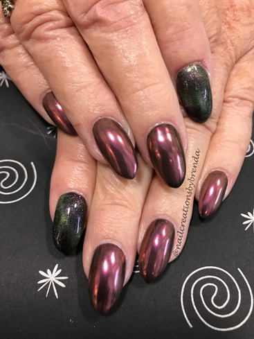 Burgundy Chrome And Cat Eye Nails