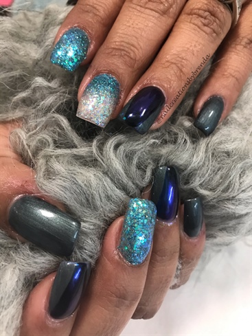 Blue Chrome Over Slate And Glitter Ombre