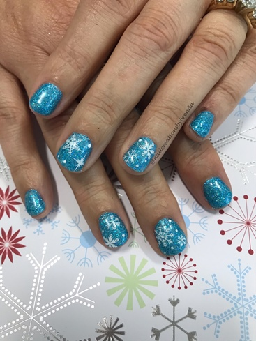 Glittery Blue And Snowflakes