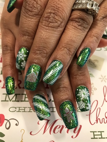 Emerald Green Glitter Candy Canes