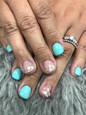 Mint Confetti Nails