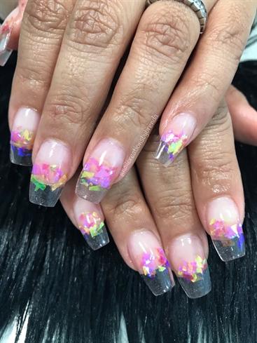 Raspberry Lemonade Mylar Clear Tip Nails