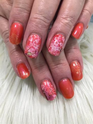 Orange neon and cherry blossoms