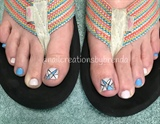 Baby pink and blue abstract toes
