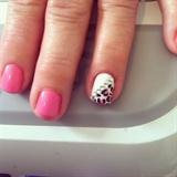Pink Leopard Rhinestone Nails