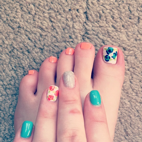 Floral Teal & Coral Spring Nails