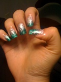 Silver and Teal Glitter Fade