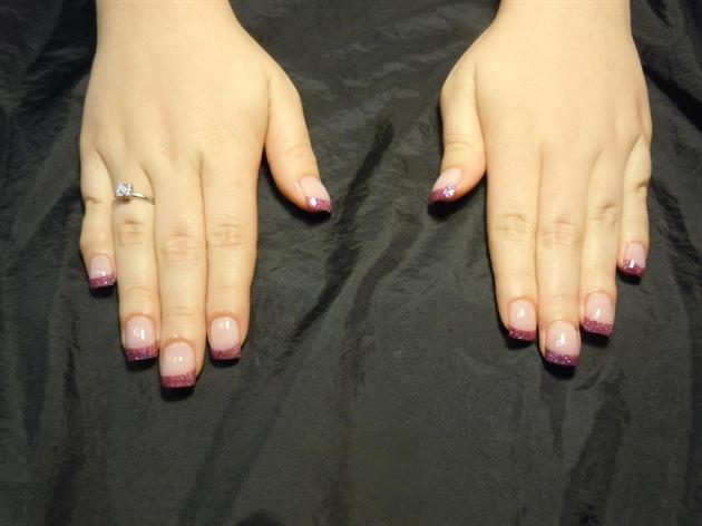 Purple Glitter French Tip