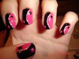 Ying yang nails (pink and black)