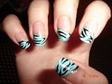 Blue manicure with zebra stripes