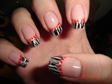White mani., Cracle n. polish. red dots