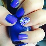 Blue Floral Nails