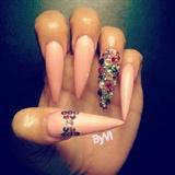 Princess Gems Acrylic Stiletto Nails