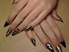 Black & Gold Sculpted Stiletto Nails