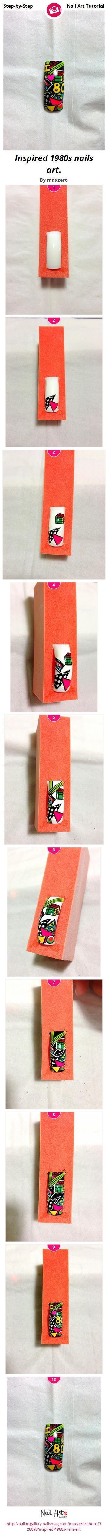 Inspired 1980s nails art. - Nail Art Gallery