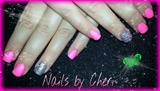 hot pink nails with silver glitter
