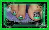 lime green zebra pedi