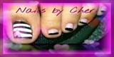 black pink striped pedi