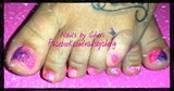 Rock star gel toes pink glitter