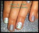 Mint green silver chevron