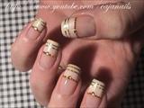 Nailart: Ivory and gold bridal design