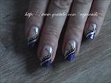 Nailart: Abstract silver and purple