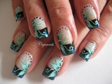 Gradient flakie with turquoise flowers