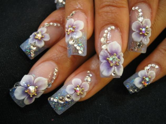 Purple 3d flowers nail art gallery purple 3d flowers prinsesfo Gallery