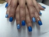 Blue with White Tribal Design