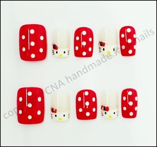 Red Polkadots Hello Kitty Nails