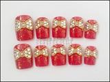 Red Hologram Ribbon Nails