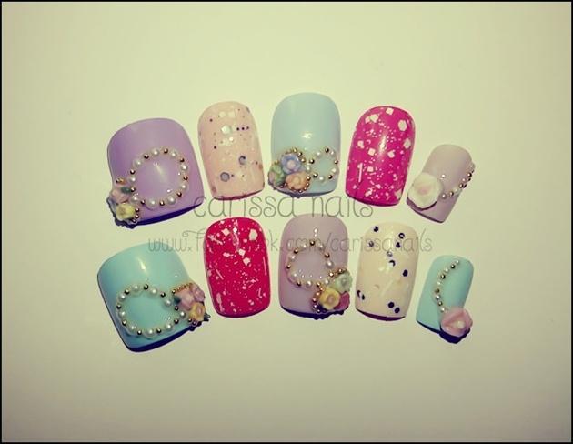 Pastel Nails 3D Flowers