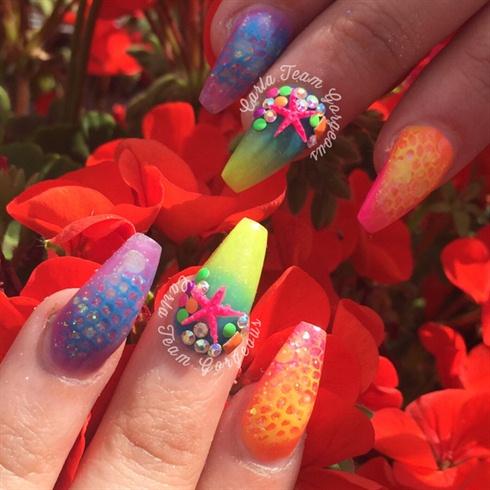 Neon Mermaid Nails