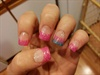 Sculptured acrylic /pink glitter tips