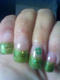 green glitter with shamrock