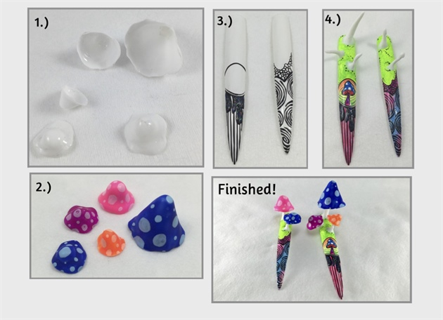 1.)  Form modeling material into the mushroom cap shape and cover in white builder gel and cure. Cure and pop off the form.    2.) Paint the mushroom caps in psychedelic colors.  3.)   Add a groovy design on the end of the nail tip with black gel and a fine detail brush. Cure.     4.) Paint the entire nail with different neon colors and using