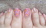 Gold and Pink Flower Nail Art