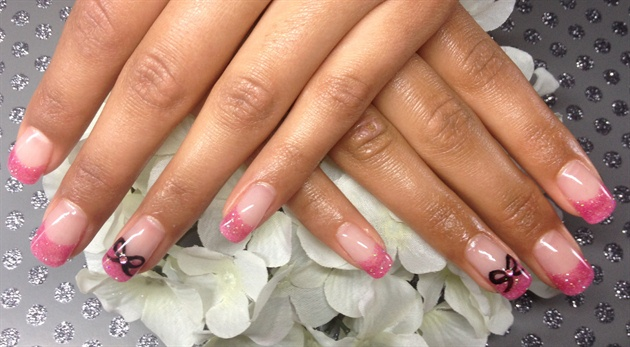 Pink valentines nails