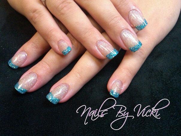 Aqua-Blue Glitter Tips - Nail Art Gallery