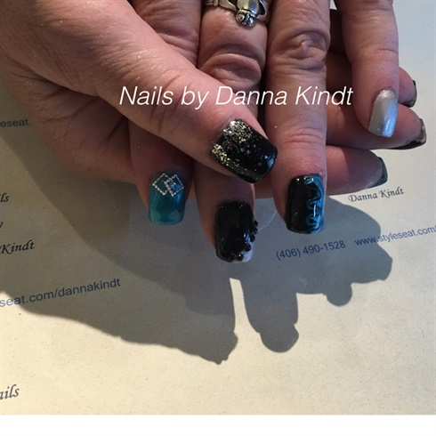 Black Turquoise And Silver Nails