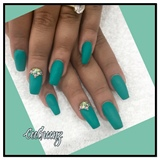 Coffin Matte Turquoise Nails Done By Me