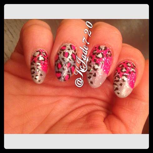 Pink & Grey Ombre w/ Leopard Print