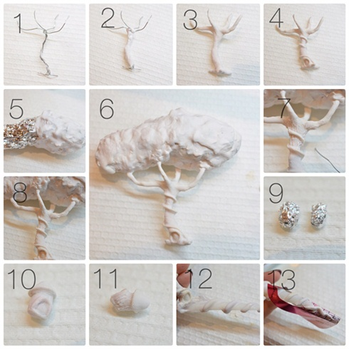 1.I started to build the tree by twisting four wire pieces to form the shape. 2. I then covered stem with acrylic. 3. And the branches. 4. After the whole tree was covered I started to form details like the door at the base and the staircase. 5. The tree crown was made of foil and then covered with acrylic. 6. When it was done I attached it to the stem. 7. To add some details I applied a super thin layer of acrylic and then used a piece of wire to carve out the tree texture. 8. And kept going like that until the entire tree had that same texture. 9. The tree houses were made with small pieces of foil. 10. Then I built them up using acrylic. 11. The texture was done with the previous method. 12. I then attached the tree to the nail tip and made the roots twist around it. 13. To make the roots stretch out past the tip, I used a form and sculpted on top of it.