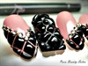 Chanel style gel nail art pink and black