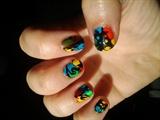 hair spray nail art