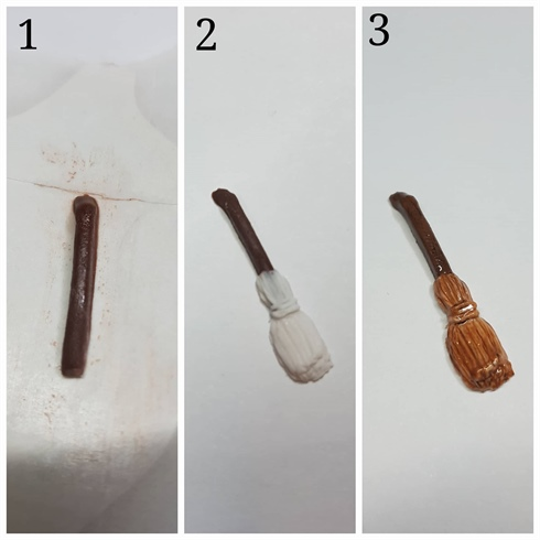 Hazel's Broom Stick. 1. Sculpt the handle on a nail form with brown acrylic. 2. Sculpt the bristles and indent lines with a metal tool. 3. Paint details with different shades of brown gel polish then finish with gel top coat. \n