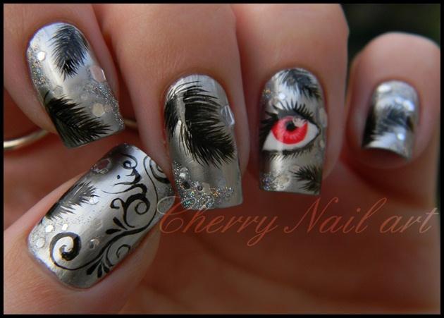 Nail art black swan