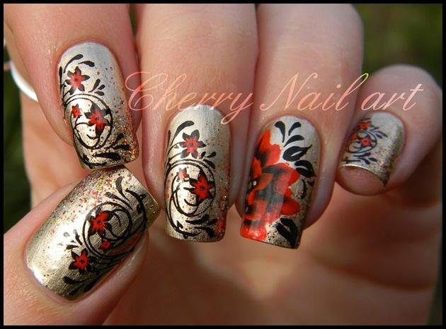 Nail art fleur de noel