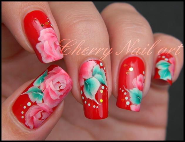 Nail Art Fleur au One Stroke