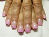 Frosted pink with a pearl top coat